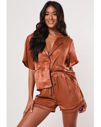 Missguided Rust Satin Sheen Contrast Piping Pyjama Top - Multicolour