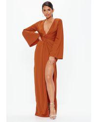 Missguided - Tall Rust Crepe Twist Front Split Maxi Dress - Lyst
