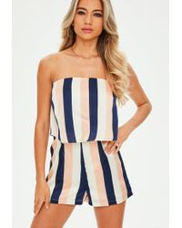 52bb55349e1 Lyst - Missguided Silky Double Layer Choker Romper Navy in Blue