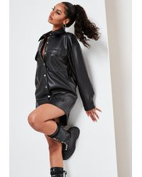 Missguided Black Faux Leather Longline Shacket