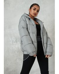 Missguided Gray Jersey Hooded Puffer Coat