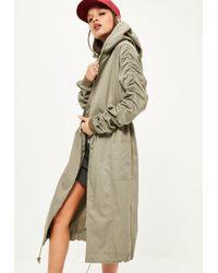 Missguided Khaki Ruched Sleeve Longline Parka Coat - Natural