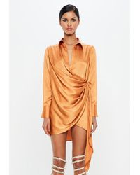 Missguided - Peace + Love Orange Textured Satin Wrap Dress - Lyst