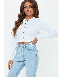 3012d22f17730 Missguided Blush Button Front Long Sleeve Crop Top - Lyst