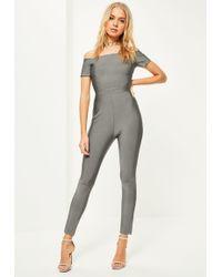 Missguided Grey Bardot Bandage Jumpsuit