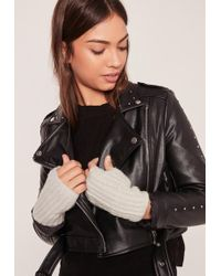 Missguided Soft Knit Mittens Gray
