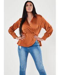 Missguided Size Rust Satin Wrap Front Blouse - Multicolour