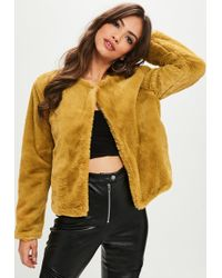 Missguided | Mustard Yellow Short Faux Fur Jacket | Lyst