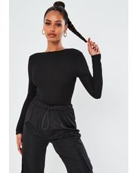 Missguided Black Low Back Ribbed Bodysuit