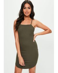 Missguided - Khaki Square Neck Curved Hem Bodycon Dress - Lyst