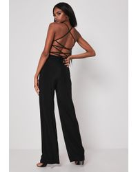 Missguided Black Cut Out Strappy Jumpsuit