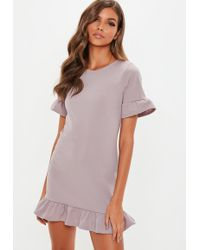 b62b1967 Missguided Petite Lilac Short Sleeve Lace High Neck Dress in Purple ...