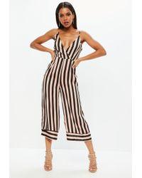Missguided - Pink Stripe Cami Culotte Jumpsuit - Lyst