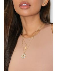 Missguided Gold Look Layered Cross Necklace - Metallic