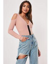 Missguided Pink Corset Detail Cold Shoulder Blouse