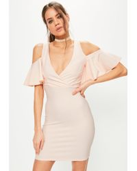 Missguided - Pink Frill Cold Shoulder Plunge Bodycon Dress - Lyst