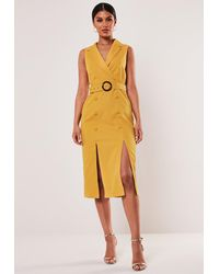 Missguided Mustard Sleeveless Belted Midi Blazer Dress - Yellow