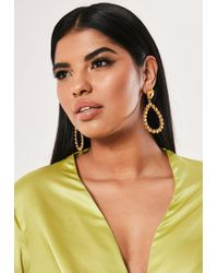 Missguided - Yellow Tear Drop Diamante Dropped Earrings - Lyst