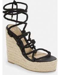 Missguided Black Rope Lace Jute Wedges