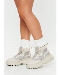 Missguided - White Reflective Trim Double Sole Hiking Trainer Boots - Lyst