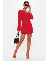 Missguided - Red Flare Sleeve Button Down Skater Dress - Lyst