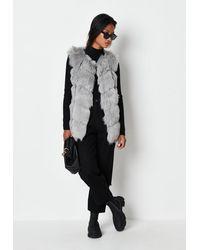 Missguided Faux Fur Bubble Vest - Grey