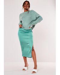 Missguided Mint Satin Midi Slip Skirt - Green