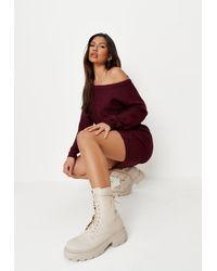 Missguided Burgundy Off Shoulder Jumper Dress - Multicolour