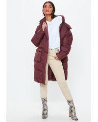 Missguided - Wine Longline Puffer Jacket - Lyst