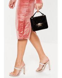 Missguided Black Micro Mini Velvet Quilted Handbag