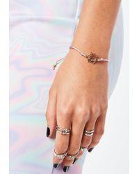 Missguided - Pink Metallic Woven Bracelet - Lyst