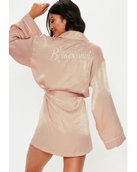Missguided Blush Satin Embroidery Bridesmaid Dressing Gown - Pink