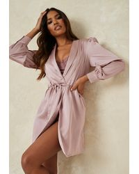 Missguided Mauve Satin Balloon Sleeve Dressing Gown - Multicolor