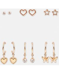 Missguided Look Stud And Butterfly Hoop Earrings 6 Pack - Metallic