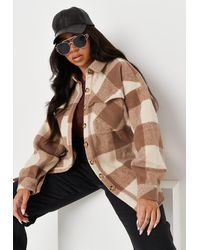 Missguided Size Brown Brushed Check Belted Shacket