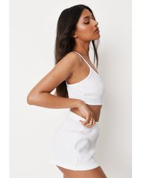 Missguided Crop Cami Top And Booty Shorts Pyjama Set - White