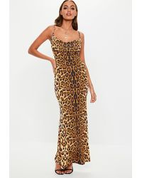 Missguided Tall Brown Leopard Cowl Neck Maxi Dress