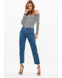 Missguided - Blue Wrath Mid Rise Clean Cut Hem Jeans - Lyst