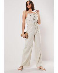 Missguided - Cream Button Drawstring Linen Look Romper - Lyst