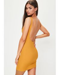 Missguided - Yellow Scoop Back Ribbed Bodycon Dress - Lyst