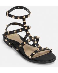 Missguided Studded Gladiator Sandals - Black