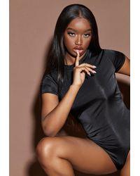 Missguided Sculpted Slinky Cap Sleeve Bodysuit - Black
