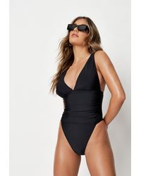 Missguided Black Ruched Waist High Leg Swimsuit
