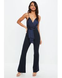 Missguided - Navy Wrap Front Colour Block Jumpsuit - Lyst