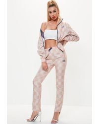 Umbro - X Missguided Pink Checked Track Pant Joggers - Lyst