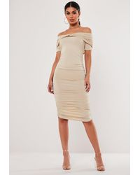 Missguided Sand Ruched Bardot Midi Dress - Natural