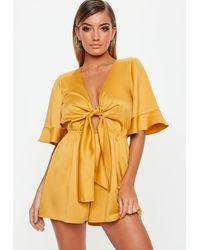 Missguided Mustard Kimono Sleeve Satin Romper - Yellow