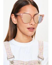 Missguided - Quay Australia X Blush/gold Revo Oh My Dayz Sunglasses - Lyst