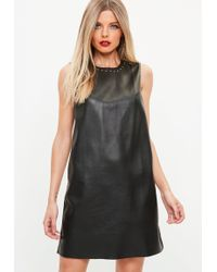 Missguided - Black Studded Faux Leather Shift Dress - Lyst