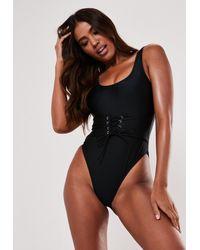 Missguided Corset Waist Scoop High Leg Swimsuit - Black